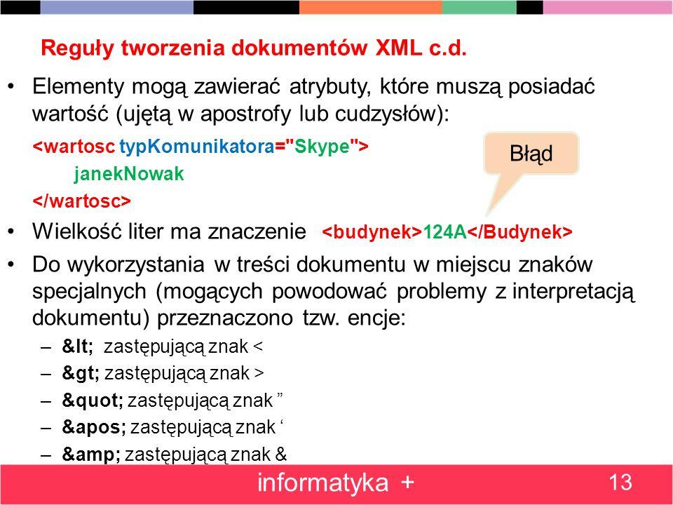 Reguły tworzenia dokumentów XML c.d. Elementy mogą zawierać atrybuty, które muszą posiadać wartość (ujętą w apostrofy lub cudzysłów): janekNowak Wielk