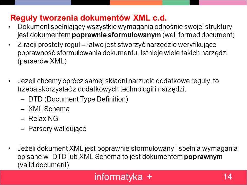 Reguły tworzenia dokumentów XML c.d. Dokument spełniający wszystkie wymagania odnośnie swojej struktury jest dokumentem poprawnie sformułowanym (well