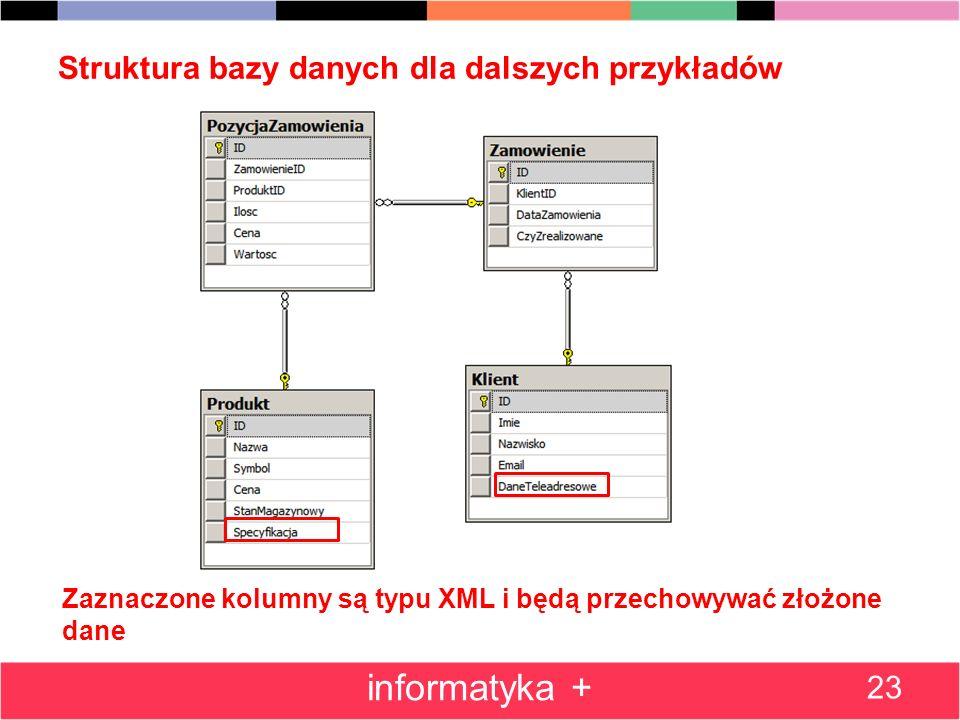 Struktura bazy danych dla dalszych przykładów 23 informatyka + Zaznaczone kolumny są typu XML i będą przechowywać złożone dane