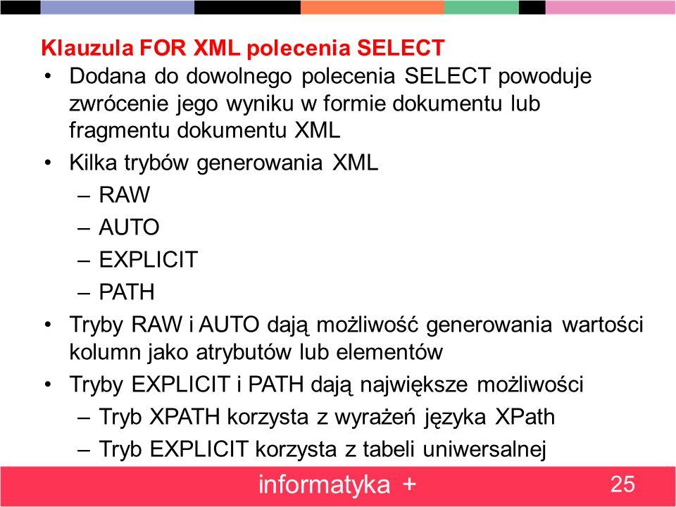 Klauzula FOR XML polecenia SELECT Dodana do dowolnego polecenia SELECT powoduje zwrócenie jego wyniku w formie dokumentu lub fragmentu dokumentu XML K
