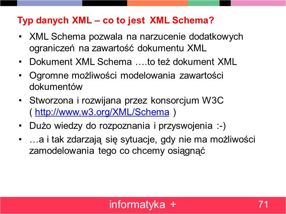 Typ danych XML – co to jest XML Schema? 71 informatyka + XML Schema pozwala na narzucenie dodatkowych ograniczeń na zawartość dokumentu XML Dokument X