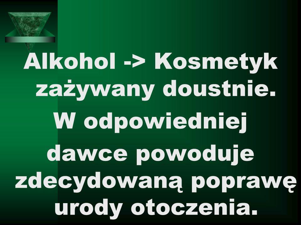 Alkohol -> Kosmetyk zażywany doustnie.