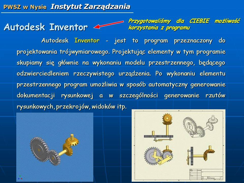 Autodesk Inventor - jest to program przeznaczony do projektowania trójwymiarowego. Projektując elementy w tym programie skupiamy się głównie na wykona