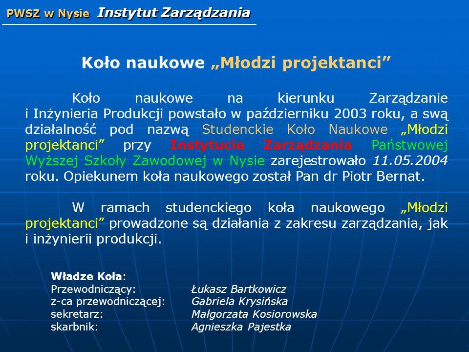 Koło naukowe Młodzi projektanci Koło naukowe na kierunku Zarządzanie i Inżynieria Produkcji powstało w październiku 2003 roku, a swą działalność pod n