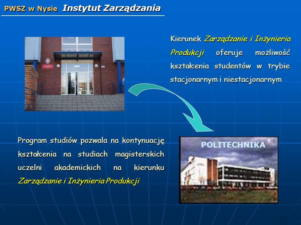 Program studiów pozwala na kontynuację kształcenia na studiach magisterskich uczelni akademickich na kierunku Zarządzanie i Inżynieria Produkcji Kieru