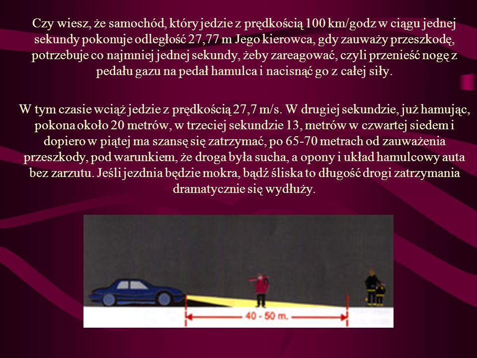 Czy wiesz, że samochód, który jedzie z prędkością 100 km/godz w ciągu jednej sekundy pokonuje odległość 27,77 m Jego kierowca, gdy zauważy przeszkodę,