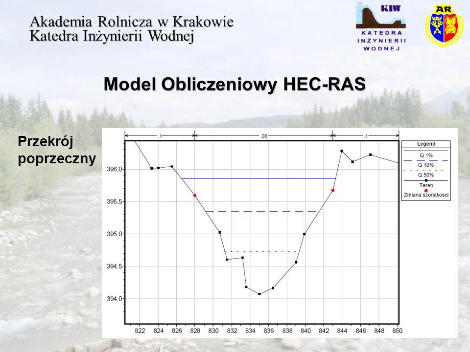 Model Obliczeniowy HEC-RAS Akademia Rolnicza w Krakowie Katedra Inżynierii Wodnej Przekrój poprzeczny