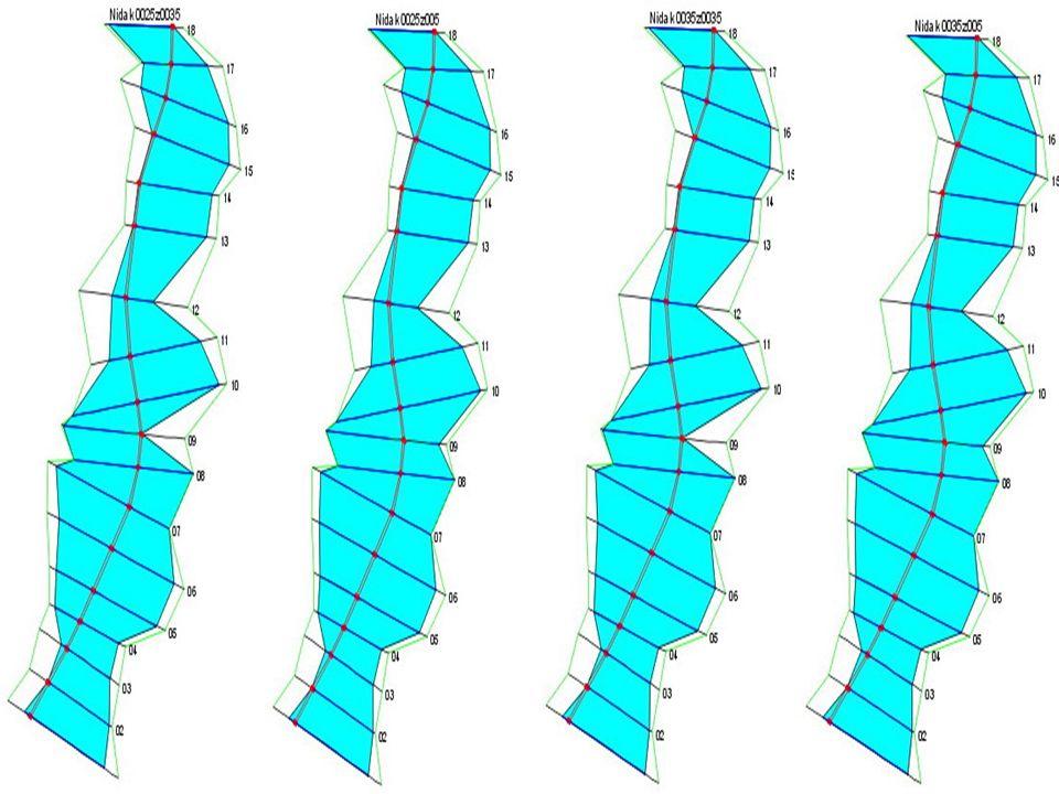 Wyniki Zalew delty środkowej rzeki Nidy wodą Q 1% =375 m 3 /s dla czterech różnych wariantów oporu przepływu
