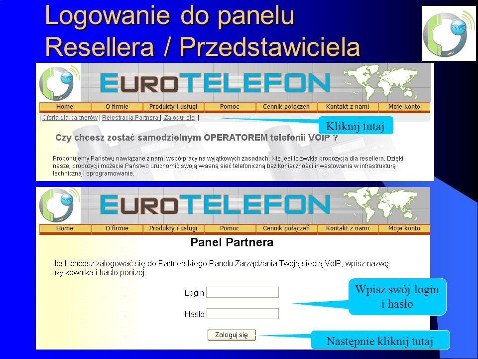 Logowanie do panelu Resellera / Przedstawiciela Kliknij tutaj Wpisz swój login i hasło Następnie kliknij tutaj