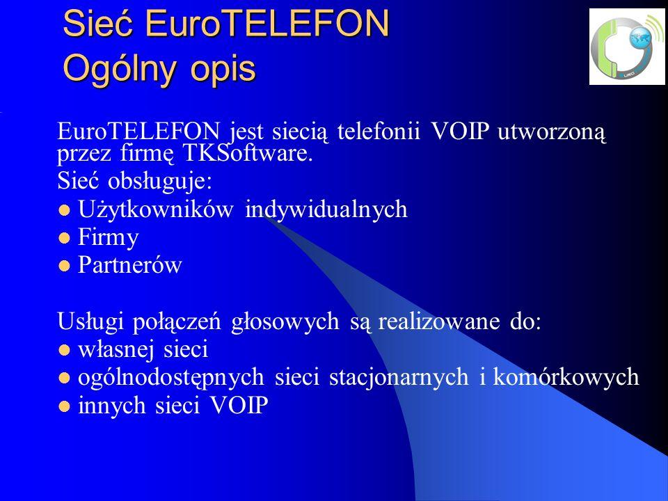 Sieć EuroTELEFON Ogólny opis EuroTELEFON jest siecią telefonii VOIP utworzoną przez firmę TKSoftware.