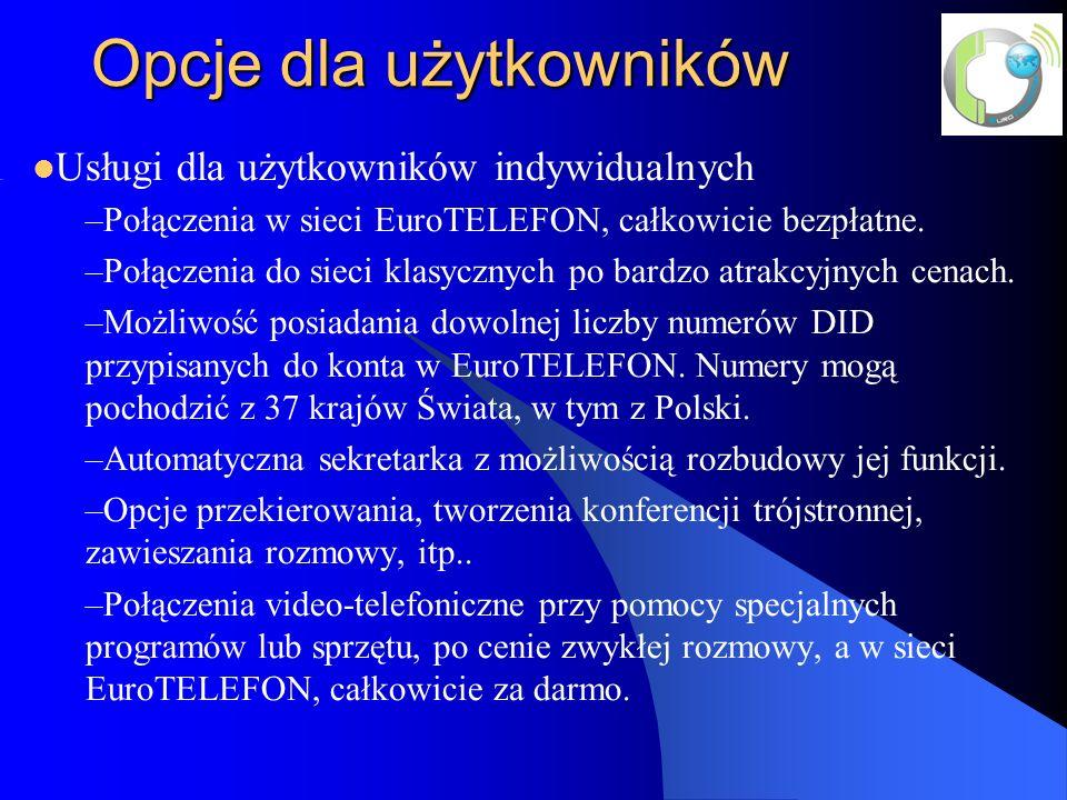 Opcje dla użytkowników Usługi dla użytkowników indywidualnych –Połączenia w sieci EuroTELEFON, całkowicie bezpłatne.