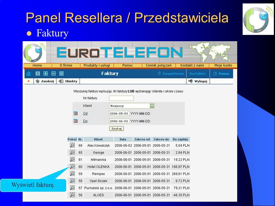 Panel Resellera / Przedstawiciela Faktury Wyświetl fakturę.