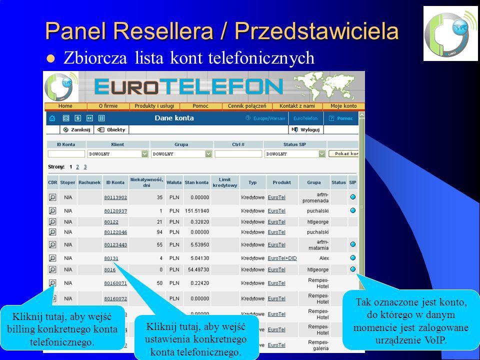 Panel Resellera / Przedstawiciela Zbiorcza lista kont telefonicznych Kliknij tutaj, aby wejść billing konkretnego konta telefonicznego.