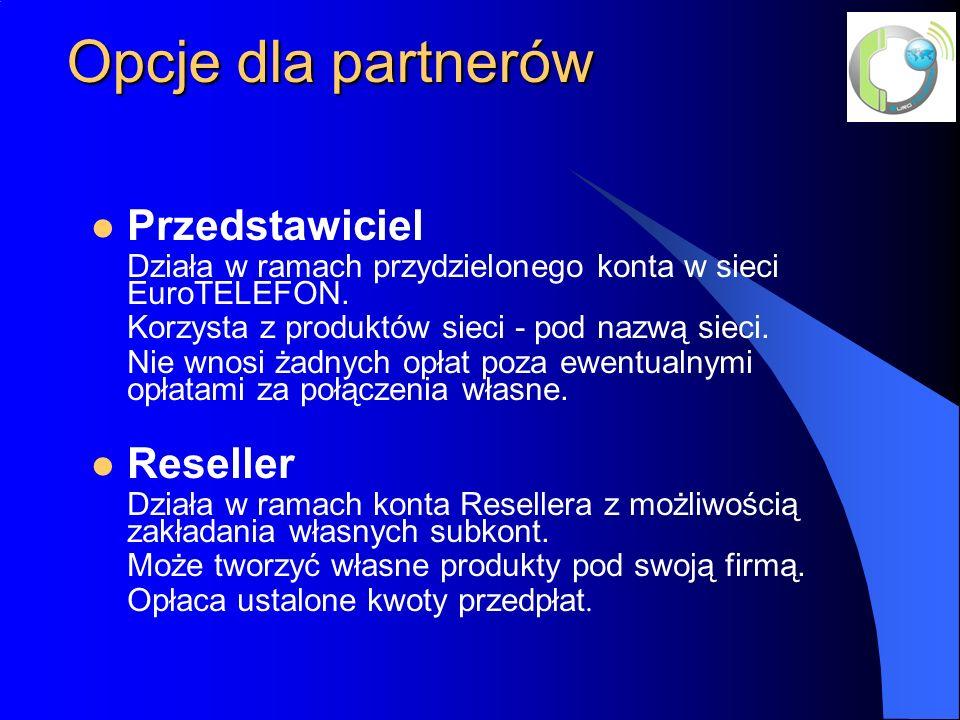 Opcje dla partnerów Przedstawiciel Działa w ramach przydzielonego konta w sieci EuroTELEFON.