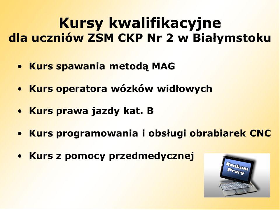 Kursy kwalifikacyjne dla uczniów ZSM CKP Nr 2 w Białymstoku Kurs spawania metodą MAG Kurs operatora wózków widłowych Kurs prawa jazdy kat.