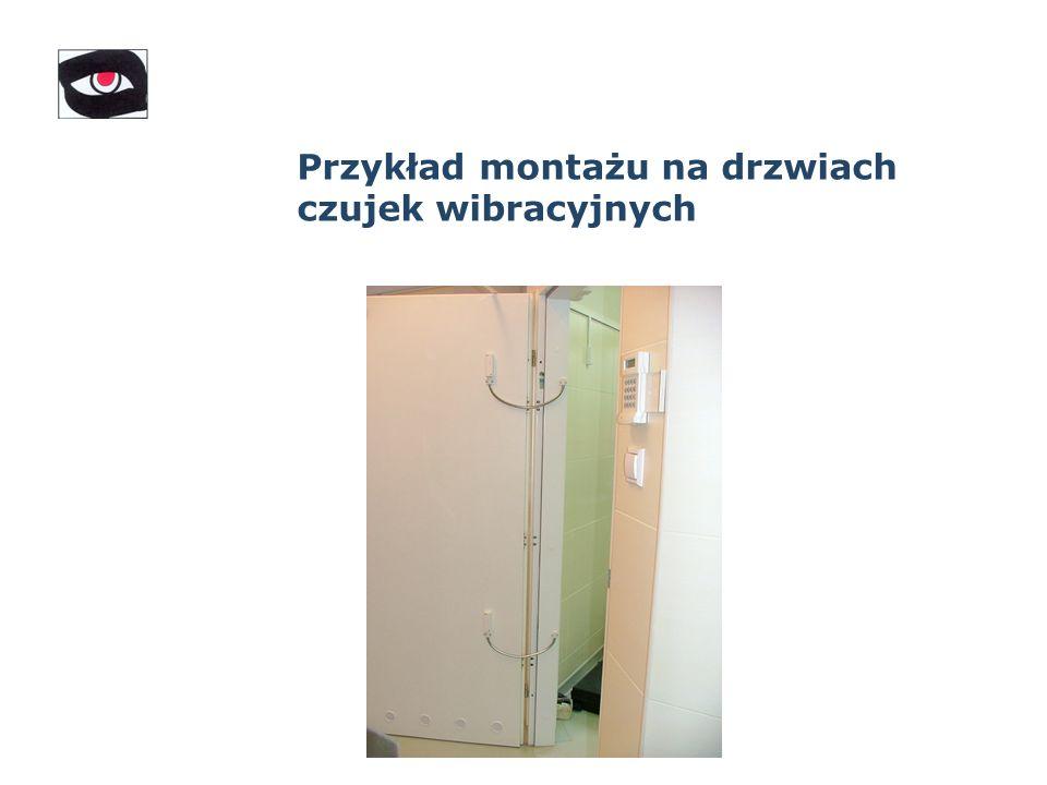 Przykład montażu na drzwiach czujek wibracyjnych