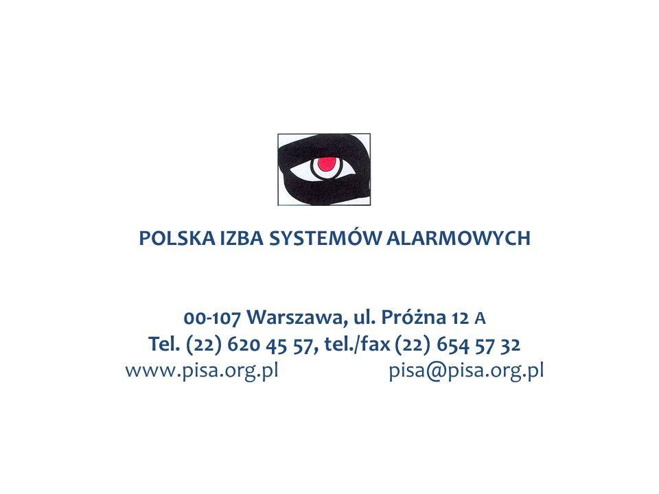 POLSKA IZBA SYSTEMÓW ALARMOWYCH 00-107 Warszawa, ul. Próżna 12 A Tel. (22) 620 45 57, tel./fax (22) 654 57 32 www.pisa.org.plpisa@pisa.org.pl
