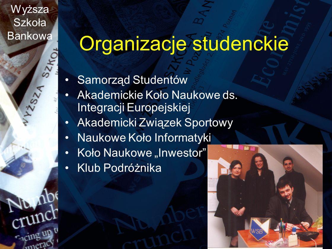 Wyższa Szkoła Bankowa Organizacje studenckie Samorząd Studentów Akademickie Koło Naukowe ds.