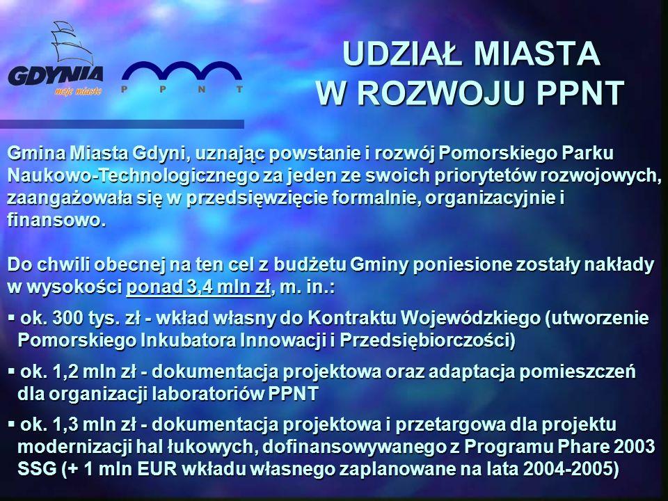Gmina Miasta Gdyni, uznając powstanie i rozwój Pomorskiego Parku Naukowo-Technologicznego za jeden ze swoich priorytetów rozwojowych, zaangażowała się w przedsięwzięcie formalnie, organizacyjnie i finansowo.