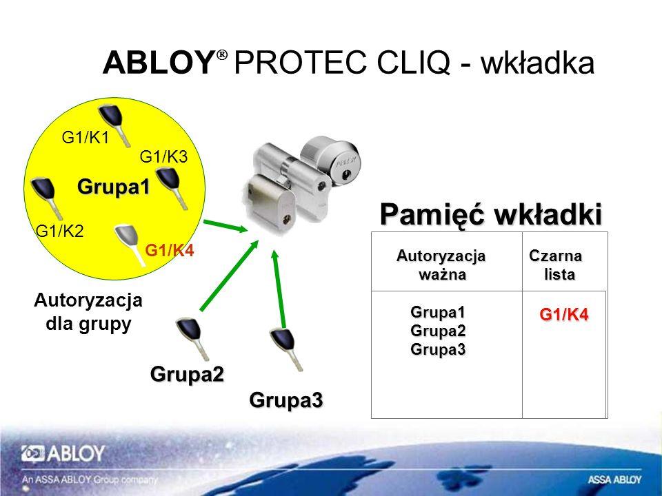 ABLOY PROTEC CLIQ - wkładka Grupa2 Grupa1 G1/K1 G1/K3 G1/K2 Autoryzacja dla grupy Grupa3 Autoryzacja Czarna Autoryzacja Czarna ważna lista ważna lista