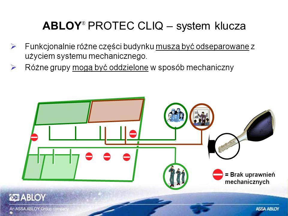 Funkcjonalnie różne części budynku muszą być odseparowane z użyciem systemu mechanicznego. Różne grupy mogą być oddzielone w sposób mechaniczny ABLOY