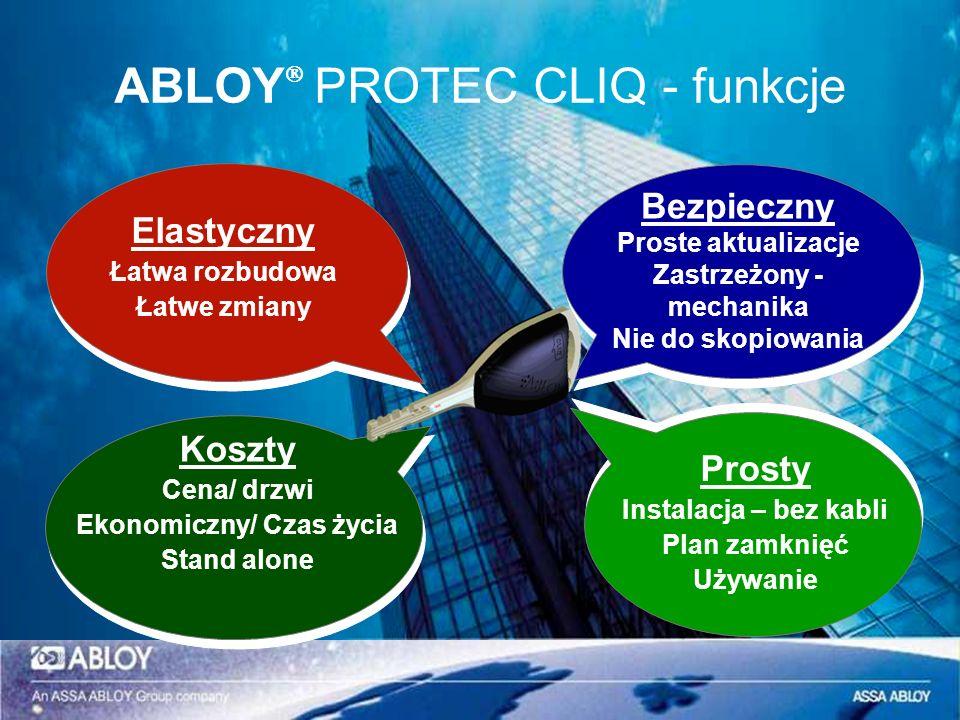ABLOY PROTEC CLIQ - funkcje Prosty Instalacja – bez kabli Plan zamknięć Używanie Bezpieczny Proste aktualizacje Zastrzeżony - mechanika Nie do skopiow
