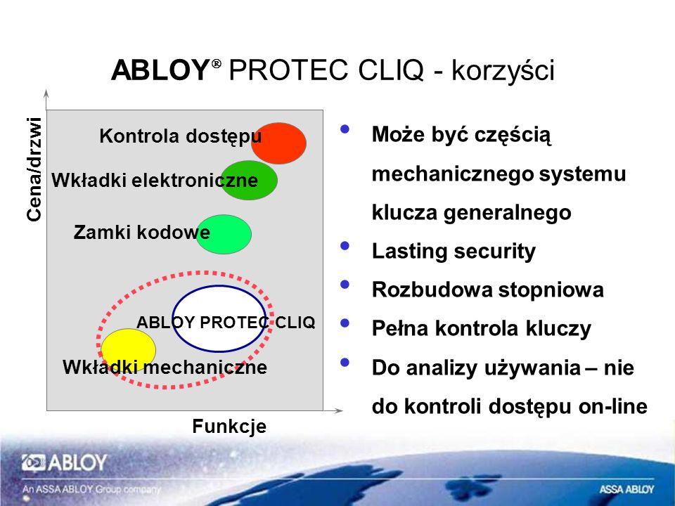 ABLOY PROTEC CLIQ – klucz programujący Jest identyfikatorem systemu wobec programatora i oprogramowania ABLOY KEYCONTROL Odczytuje pamięć zdarzeń wkładki Każdy klucz czyta 1.000 zdarzeń w jednym cyklu Program ABLOY KEYCONTROL może określić, ile zdarzeń będzie czytane z jednej wkładki Programowanie wkładek Klucz zapamiętuje 385 rozkazów programowania