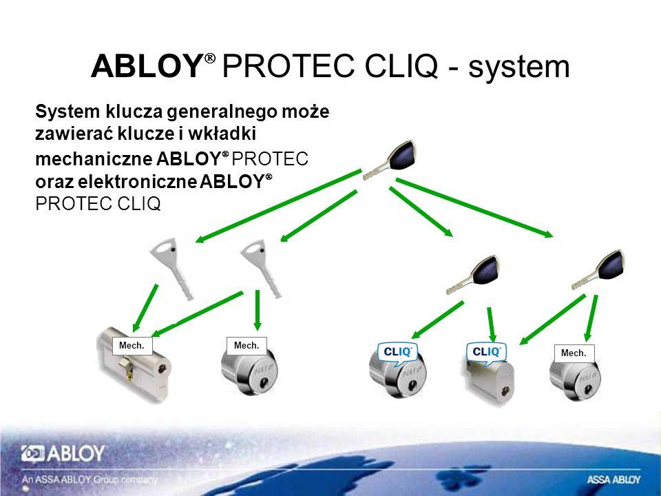 ABLOY PROTEC CLIQ - system System klucza generalnego może zawierać klucze i wkładki mechaniczne ABLOY PROTEC oraz elektroniczne ABLOY PROTEC CLIQ Mech