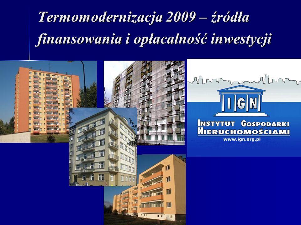 Termomodernizacja 2009 – źródła finansowania i opłacalność inwestycji