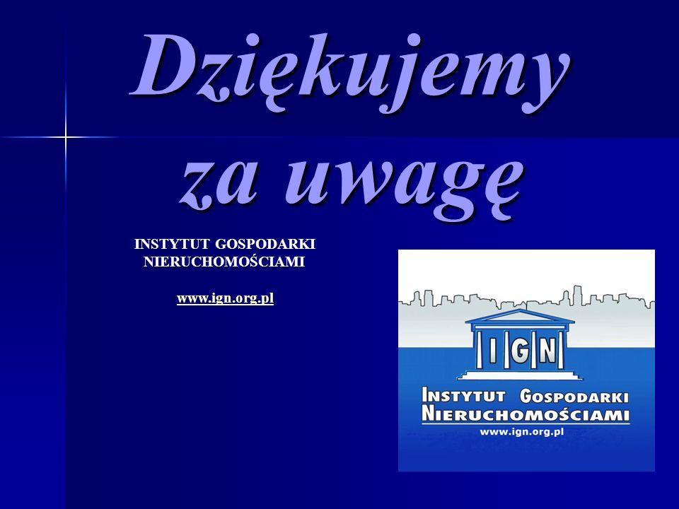 Dziękujemy za uwagę INSTYTUT GOSPODARKI NIERUCHOMOŚCIAMI www.ign.org.pl
