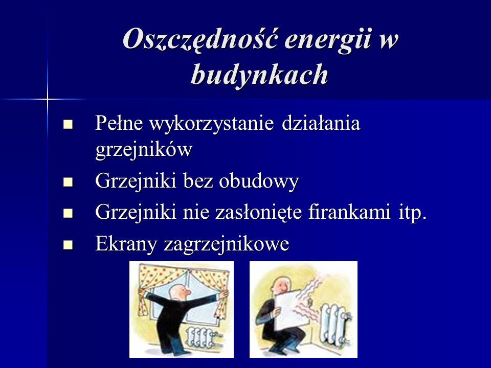 Oszczędność energii w budynkach Pełne wykorzystanie działania grzejników Pełne wykorzystanie działania grzejników Grzejniki bez obudowy Grzejniki bez obudowy Grzejniki nie zasłonięte firankami itp.