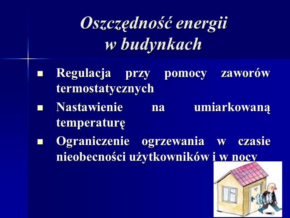 Oszczędność energii w budynkach Regulacja przy pomocy zaworów termostatycznych Regulacja przy pomocy zaworów termostatycznych Nastawienie na umiarkowaną temperaturę Nastawienie na umiarkowaną temperaturę Ograniczenie ogrzewania w czasie nieobecności użytkowników i w nocy Ograniczenie ogrzewania w czasie nieobecności użytkowników i w nocy