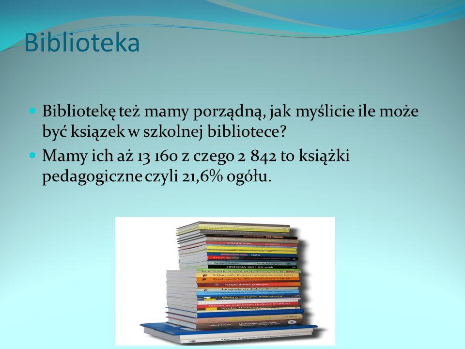 Biblioteka Bibliotekę też mamy porządną, jak myślicie ile może być ksiązek w szkolnej bibliotece? Mamy ich aż 13 160 z czego 2 842 to książki pedagogi