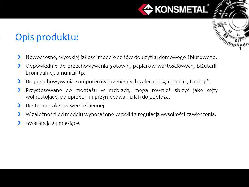 Opis produktu: Nowoczesne, wysokiej jakości modele sejfów do użytku domowego i biurowego. Odpowiednie do przechowywania gotówki, papierów wartościowyc