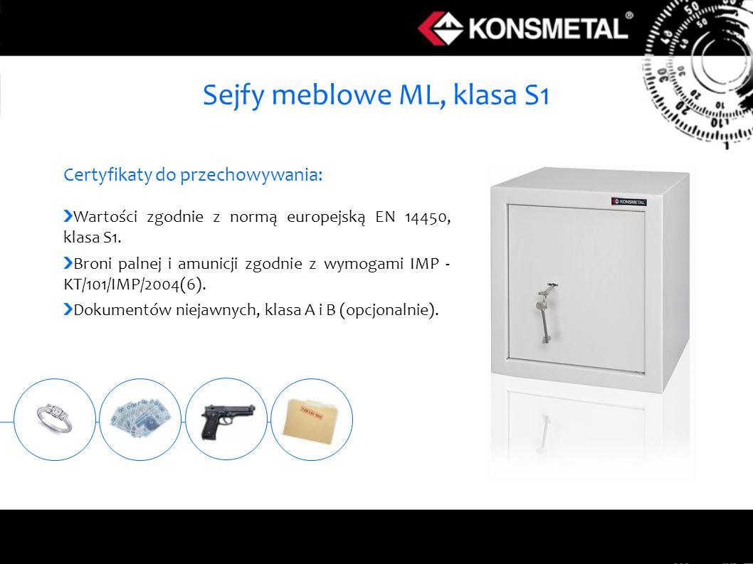 Sejfy meblowe ML, klasa S1 Certyfikaty do przechowywania: Wartości zgodnie z normą europejską EN 14450, klasa S1. Broni palnej i amunicji zgodnie z wy