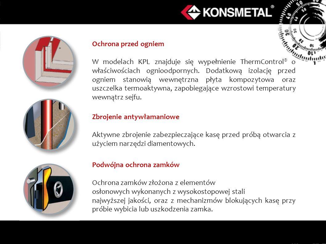 Ochrona przed ogniem W modelach KPL znajduje się wypełnienie ThermControl ® o właściwościach ognioodpornych.