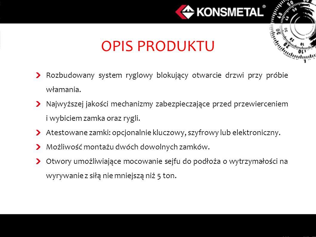 OPIS PRODUKTU Rozbudowany system ryglowy blokujący otwarcie drzwi przy próbie włamania. Najwyższej jakości mechanizmy zabezpieczające przed przewierce