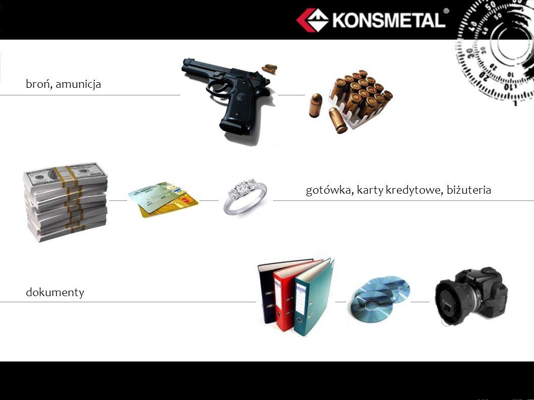 broń, amunicja gotówka, karty kredytowe, biżuteria dokumenty