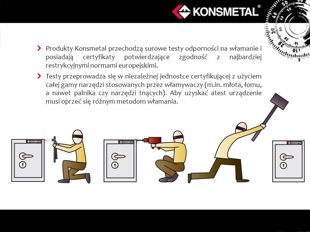 Produkty Konsmetal przechodzą surowe testy odporności na włamanie i posiadają certyfikaty potwierdzające zgodność z najbardziej restrykcyjnymi normami