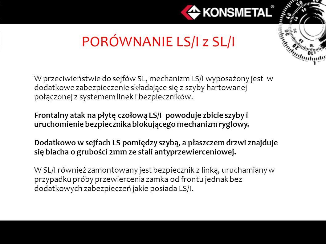 W przeciwieństwie do sejfów SL, mechanizm LS/I wyposażony jest w dodatkowe zabezpieczenie składające się z szyby hartowanej połączonej z systemem line