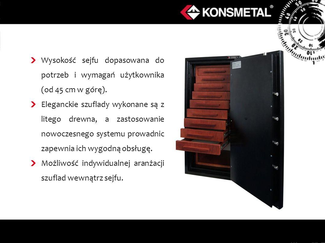 Wysokość sejfu dopasowana do potrzeb i wymagań użytkownika (od 45 cm w górę). Eleganckie szuflady wykonane są z litego drewna, a zastosowanie nowoczes