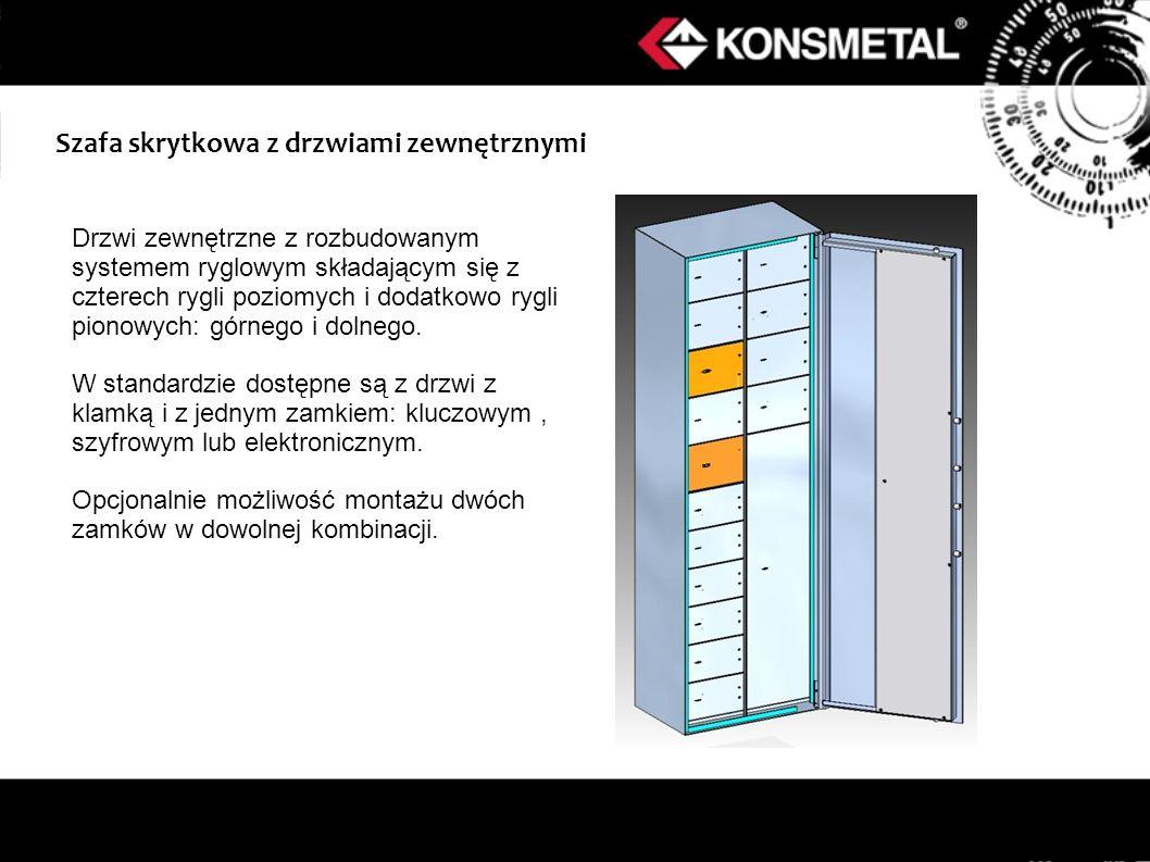 Szafa skrytkowa z drzwiami zewnętrznymi Drzwi zewnętrzne z rozbudowanym systemem ryglowym składającym się z czterech rygli poziomych i dodatkowo rygli pionowych: górnego i dolnego.