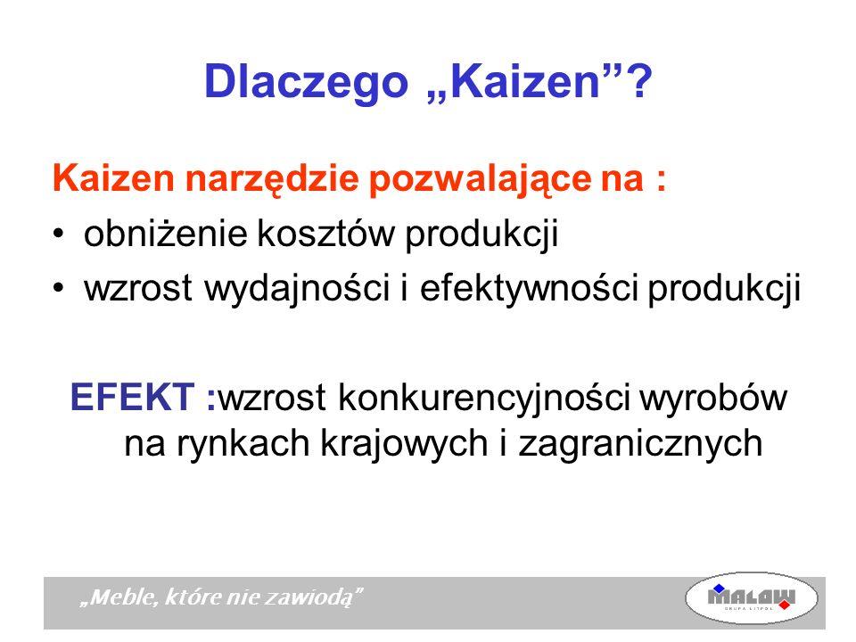 Meble, które nie zawiodą Dlaczego Kaizen? Kaizen narzędzie pozwalające na : obniżenie kosztów produkcji wzrost wydajności i efektywności produkcji EFE