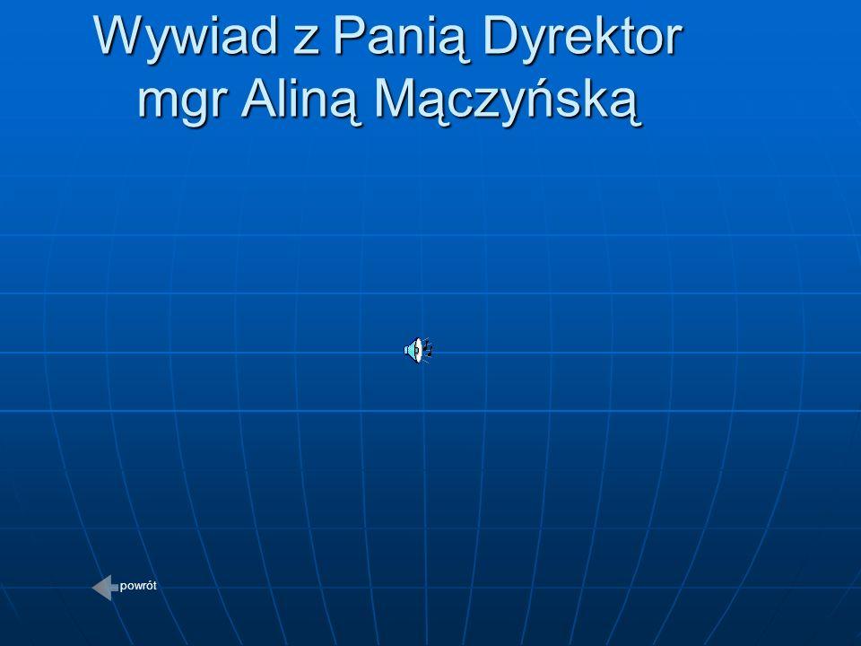 Wywiad z Panią Dyrektor mgr Aliną Mączyńską powrót
