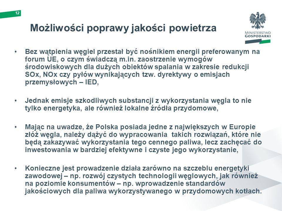 12 Bez wątpienia węgiel przestał być nośnikiem energii preferowanym na forum UE, o czym świadczą m.in. zaostrzenie wymogów środowiskowych dla dużych o