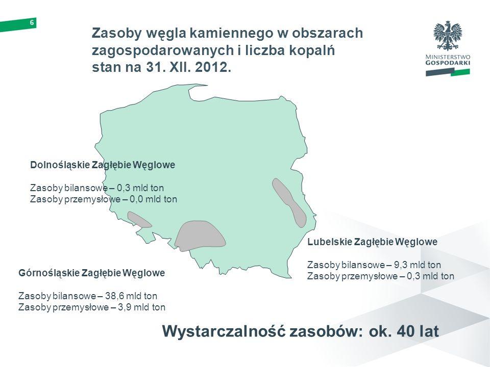 6 Zasoby węgla kamiennego w obszarach zagospodarowanych i liczba kopalń stan na 31. XII. 2012. Górnośląskie Zagłębie Węglowe Zasoby bilansowe – 38,6 m