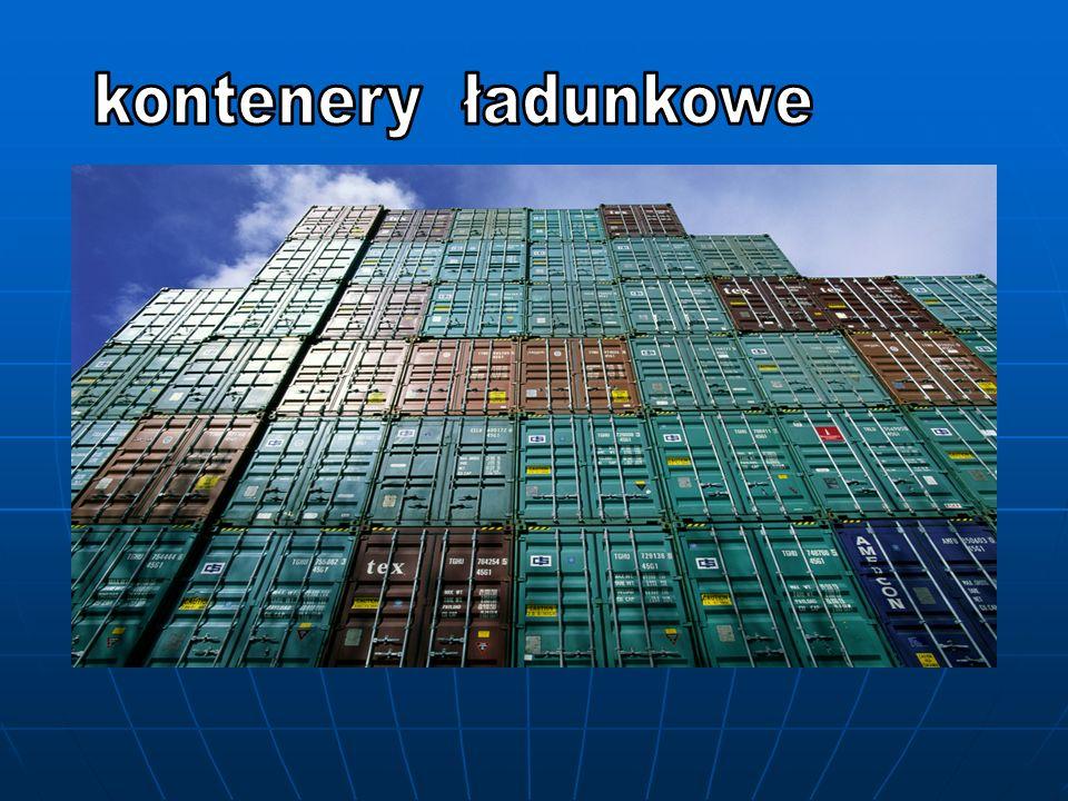 Definicja Kontenery ładunkowe określić można jako urządzenia pomocnicze : trwałe, wielokrotnego użytku trwałe, wielokrotnego użytku o budowie przystosowanej do przewozu ładunków jednym lub kilkoma rodzajami transportu ( bez przeładowywania ) o budowie przystosowanej do przewozu ładunków jednym lub kilkoma rodzajami transportu ( bez przeładowywania ) posiadające wyposażenie umożliwiające łatwą manipulację, zwłaszcza podczas przeładunku z jednego na drugi środek transportu posiadające wyposażenie umożliwiające łatwą manipulację, zwłaszcza podczas przeładunku z jednego na drugi środek transportu przystosowane do łatwego napełniania i opróżniania przystosowane do łatwego napełniania i opróżniania o wewnętrznej objętości co najmniej 1 m35,3 ft 3 ) o wewnętrznej objętości co najmniej 1 m 3 ( 35,3 ft 3 )