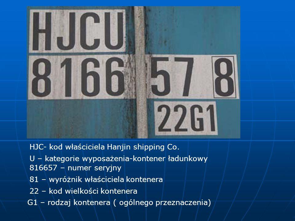 HJC- kod właściciela Hanjin shipping Co.