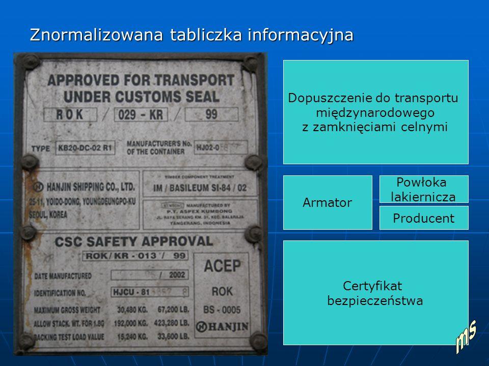 Znormalizowana tabliczka informacyjna Dopuszczenie do transportu międzynarodowego z zamknięciami celnymi Armator Powłoka lakiernicza Producent Certyfikat bezpieczeństwa