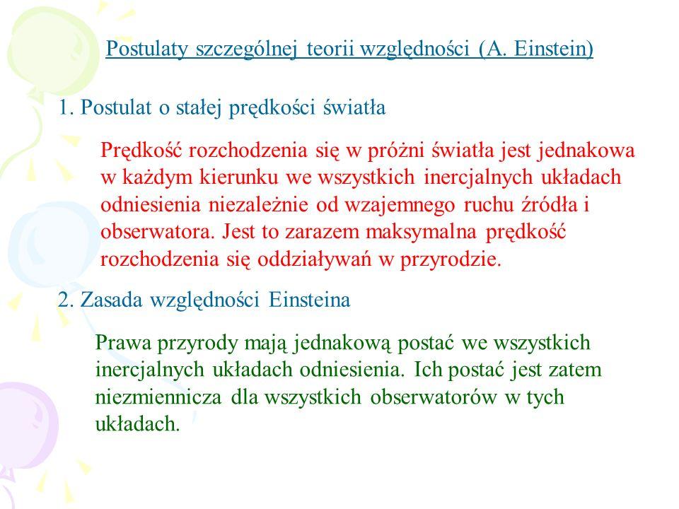 Postulaty szczególnej teorii względności (A. Einstein) 1. Postulat o stałej prędkości światła Prędkość rozchodzenia się w próżni światła jest jednakow